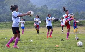 A practice session underway at the club maidan. AMMA was set up in 1982, as a self-help group meant to promote animal husbandry, weaving and crafts among women. In the '90s, the club began encouraging young girls to play football in the adjacent ground. It has since produced national- and international-level players like Rina Salam, who currently plays for the Indian women's team.