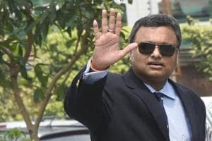 File photo of Karti Chidambaram, the son of former finance minister P. Chidambaram, arriving at the CBI headquarters in New Delhfor questioning.