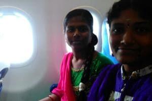 P Saranya (left) and HYamuna take a selfie inside a flight.