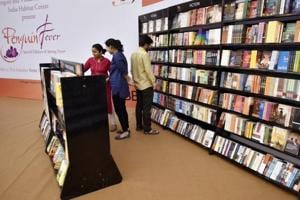 Book lovers check out the collection on the first day of the Penguin Fever 2017 literary festival.