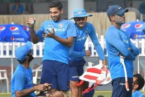 Indian cricketers during a practice session ahead  of the third and final T20I against New Zealand in Kanpur.