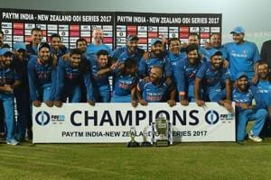 Indian cricket team members celebrate after winning the ODI series against New Zealand 2-1 in Kanpur on Sunday.