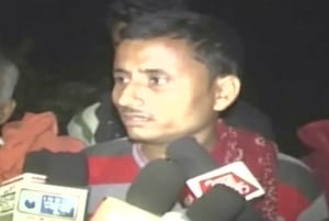 The father of the five-year-old boy who was killed after he was hit by a car speaks to reporters on Saturday. The family alleges the vehicle was a part of UP cabinet minister Om Prakash Rajbhar's cavalcade.