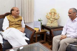 Dineshwar Sharma, former Director of Intelligence Bureau, seen here with Union Home Minister, Rajnath Singh,  has been appointed to initiate and carry forward a dialogue with elected representatives, various organisations and concerned individuals in Jammu and Kashmir