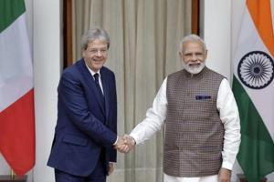 Prime Minister Narendra Modi shakes hand with his Italian counterpart Paolo Gentiloni before their meeting in New Delhi on October 30.