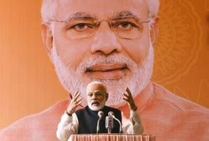 Prime Minister Narendra Modi addresses journalists during Diwali Mangal Milan programme at BJP headquarters in New Delhi on October 28.