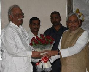Bihar CM Nitish Kumar welcoming union civil aviation minister PA Gajathi Raju in Patna on Monday.