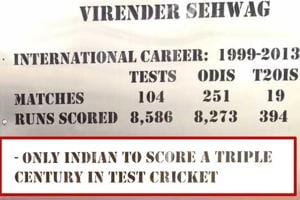 A gate at the Feroz Shah Kotla dedicated to cricket legend Virender Sehwag has his wrong Test statistics. Sehwag is one of the two Indians to have scored a Test triple hundred. Karun Nair is the other