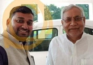 Hooch tragedy accused Rakesh Singh takes a selfie with Bihar chief minister Nitish Kumar in Patna.