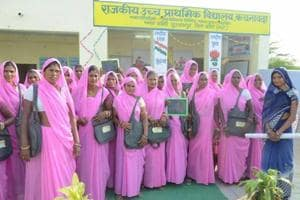 Women at the 'Matra Gyan Kendra' at a government school in Kachnawada village of Kota district which was formally launched on October 30.