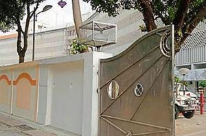 The decorative designs on the white boundary wall will get a saffron finish too.
