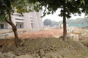 Heaps of loose soil was found lying in the open at various spots when Hindustan Times paid a visit to the stadium.
