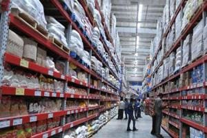 Shoppers browsing through the products of a Bharti Wal-Mart Best Price Modern wholesale store in Hyderabad.