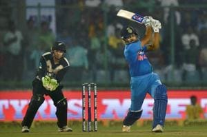 Rohit Sharma's fifty helped India reach a total of 202/3 in the 1st T20I against New Zealand at the Feroz Shah Kotla ground.