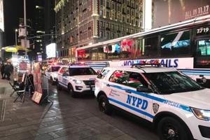 New York Police Department vehicles seen in midtown Manhattan, after a truck attack on a Manhattan bike path in New York.