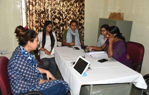Officials at the mansanwasd, a toll-free helpline office at the  psychiatric centre in Jaipur.