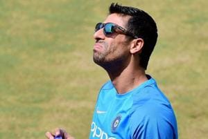 Ashish Nehra looks on during a practice session ahead of India's first T20 international against New Zealand at Feroz Shah Kotla in New Delhi.