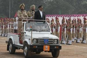 Chandigarh administrator VP Bandore along with IG Tejinder Singh Luthra during Chandigarh Police Raising Day parade at police lines in Sector 26, Chandigarh, on Wednesday.