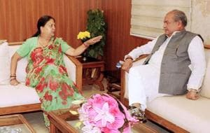 CM Vasundhara Raje with Union rural development and panchayati raj minister Narendra Singh Tomar at Krishi Bhavan in New Delhi on Wednesday.