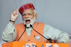 Prime Minister Narendra Modi addresses an election campaign rally in Kangra district on Thursday.