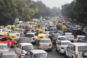 Office-goers were caught in long traffic jams in central Delhi on Friday morning after the inauguration of the event at Vigyan Bhavan.