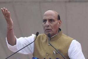 Union Home Minister Rajnath Singh addresses a crowd on the 142th birth anniversary of Sardar Vallabhbhai Patel at Major Dhyan Chand National Stadium, in New Delhi, India on Tuesday, October 31, 2017.