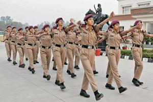 Cadets during a drill at Mai Bhago Armed Forces Preparatory Institute for Girls, Sector 66, in Mohali.