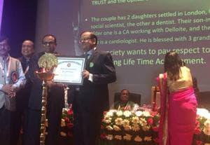 Dr VNPrasad receiving lifetime achievement award at Bihar Opthalmological Society meet in Patna on Saturday.