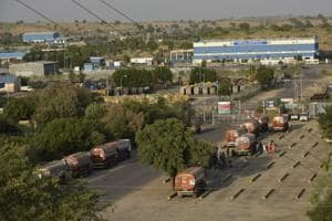 Oil tankers outside the Mangala Processing Terminal, Barmer .