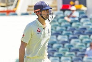 Alastair Cook walks after being dismissed for a duck during a two-day practice match against Western Australian at the WACA in Perth.