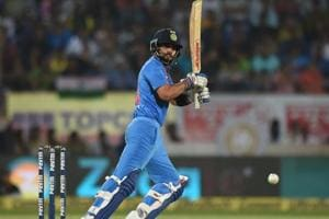 Virat Kohli plays a shot during the second India vs New Zealand T20 international in Rajkot.