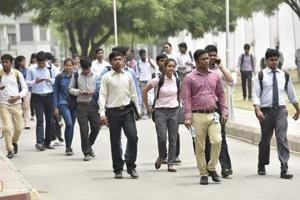 Graduates head for a job fair in Noida in June 2017. Currently, India produces an estimated 700,000 engineers from its 3,000 institutes but barely half of them are employable.