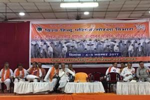 Participants attend India's first national convention of cow protectors in Lucknow.
