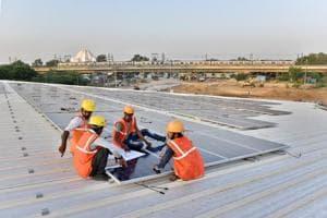 Solar panels on the Kalkaji Mandir underground metro station on the Janakpuri West-Botanical Garden metro line.