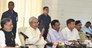 CMNitish Kumar 9second from left) at his Lok Samvad programme in Patna on Monday.
