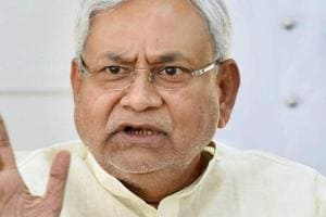 Bihar chief minister Nitish Kumar addressing a press conference at his residence in Patna on Monday.