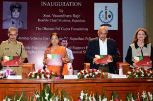 Pradeep Yohanne Gupta (centre)and his wife Linda Haynes (right) with Rajasthan chief minister Vasundhara Raje and DGP Ajit Singh Shekhawat (left) during the launch of the Dharam Pal Gupta Foundation, at the Rajasthan Police Academy in Jaipur on Sunday.