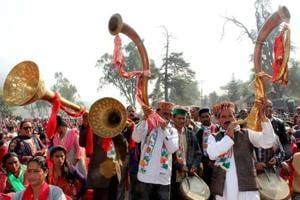 Musicians play traditional instruments at a Congress rally in Kullu in Himachal Pradesh. (Aqil Khan / HTPhoto)