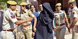 Payal Singhvi , who became Aarifa after marrying a Muslim man, comes out of court in Jodhpur on Tuesday.
