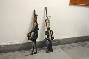 The AK47 Draco (left) and M4 Carbine colt rifles are put on display in Srinagar after security forces recovered them from the site of the encounter with Jaish-e-Mohammed (JEM) militants in Pulawama district.