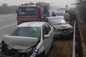 Vehicles met with an accident due to heavy smog on Yamuna Expressway, Dankaur, on Wednesday.