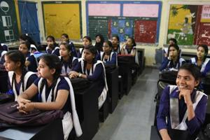 A class in progress at the Government Girls Senior Secondary School in Sangam Vihar.