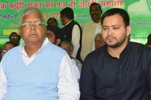 RJD president Lalu Prasad with his younger son Tejashwi Yadav.