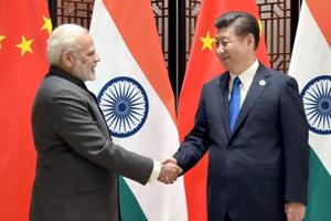 Prime Minister Narendra Modi meeting Chinese president Xi Jinping on the sidelines of the 9th BRICS Summit in Xiamenin May 2017.