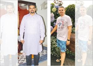 Venture capitalist Amit Rastogi who weighed a whopping 105kgs at one time (left) lost 21kgs in eight months (right )