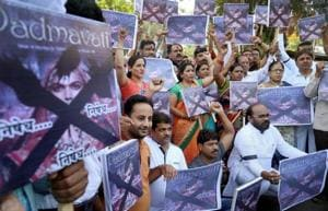 Rajasthan Rajput Parishad activists protest against filmaker Sanjay Leela Bhansali