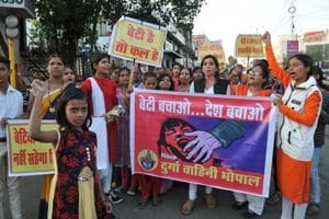 Durga Vahini members take out a protest rally in Bhopal against the gang rape of a woman, on November 5, 2017.