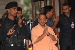 Utter Pradesh chief minister Yogi Adityanath on his way to attend a Cabinet meeting at Lokbhavan, Lucknow, Uttar Pradesh October 31