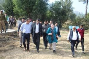 Rina Mitra, Special Secretary (Internal Security) Union Home Ministry  along with district officials during her visit to villages along the Line of Control (LoC) in Rajouri on Saturday.