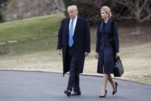 United States President Donald Trump and his daughter Ivanka Trump at the White House in  Washington.